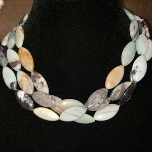 Soft neutral stone necklace with Magnetic clasp